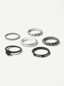 Spiral Detail Rhinestone Rings Set 5pcs