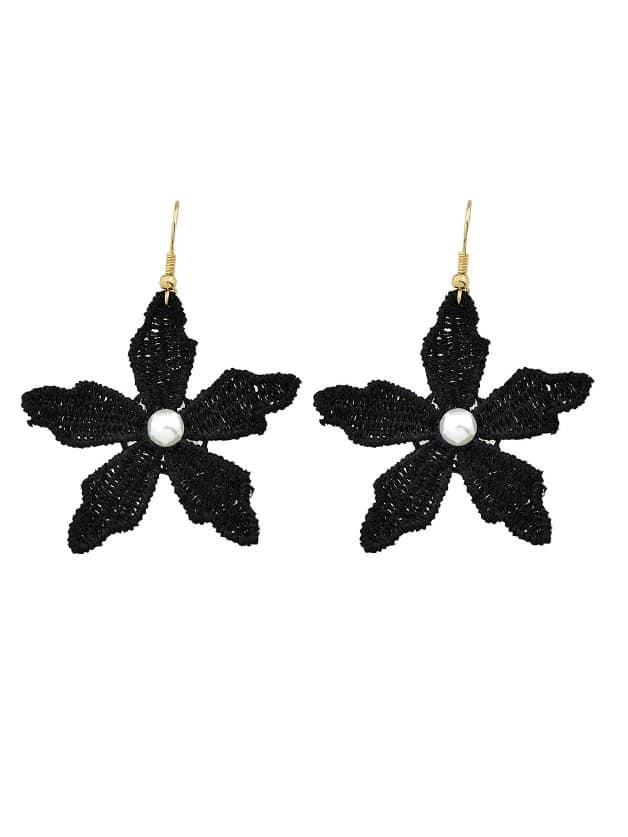 купить Black Hollow Flower Earrings