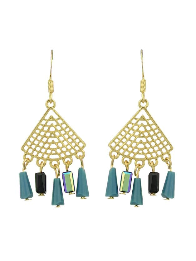 Blue Pagoda Beads Tassel Earrings цены онлайн