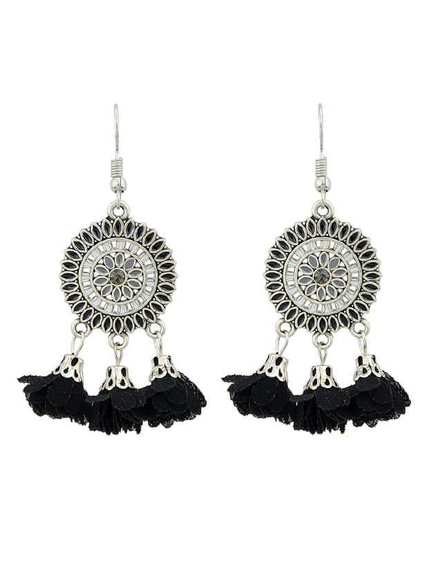 Black Dripping Tassel Earrings