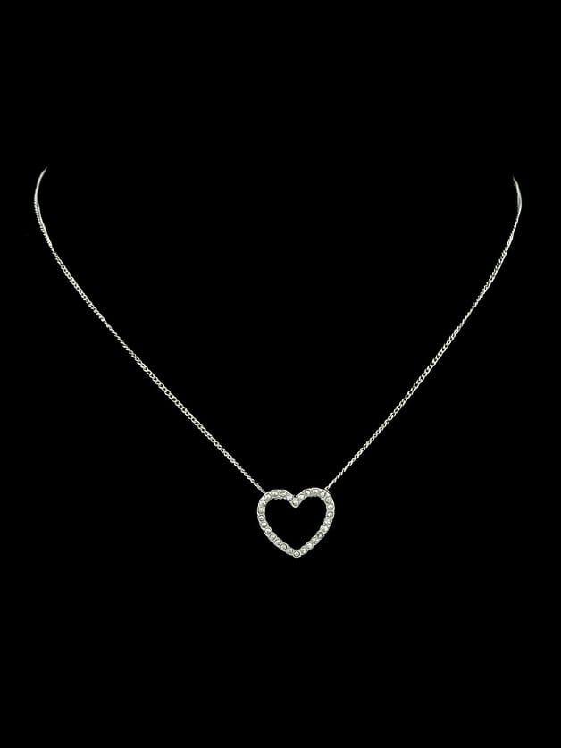 Silver Full Heart Diamond Necklace silver full heart diamond necklace