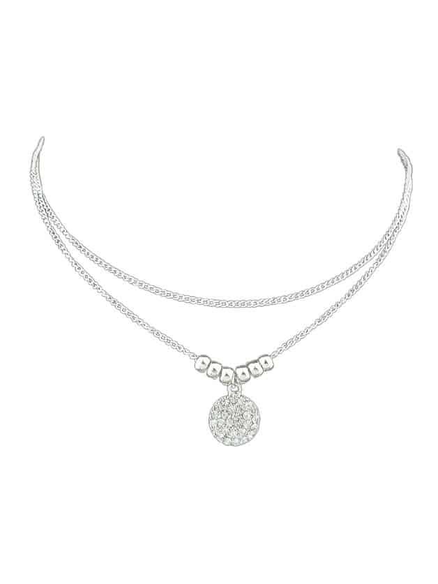 Silver Multilayer Diamond Necklace silver full heart diamond necklace