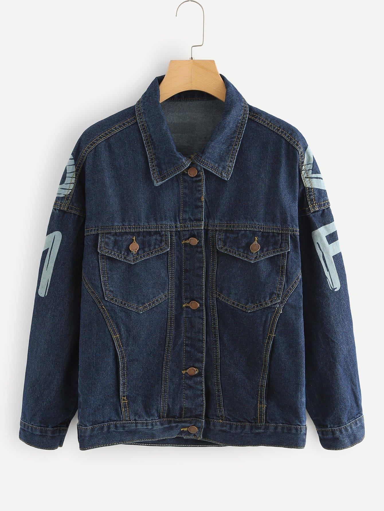 Letter Print Drop Shoulder Denim Jacket letter print drop shoulder sweatshirt
