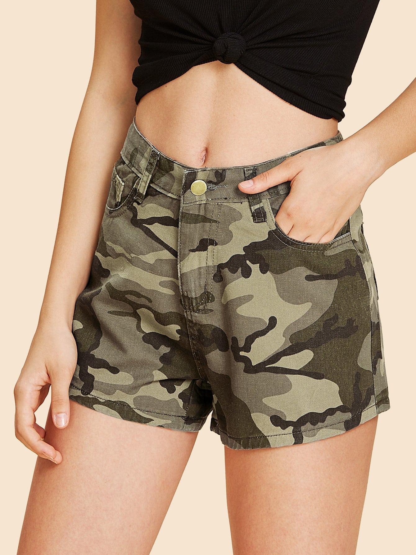 Camouflage Print Denim Shorts