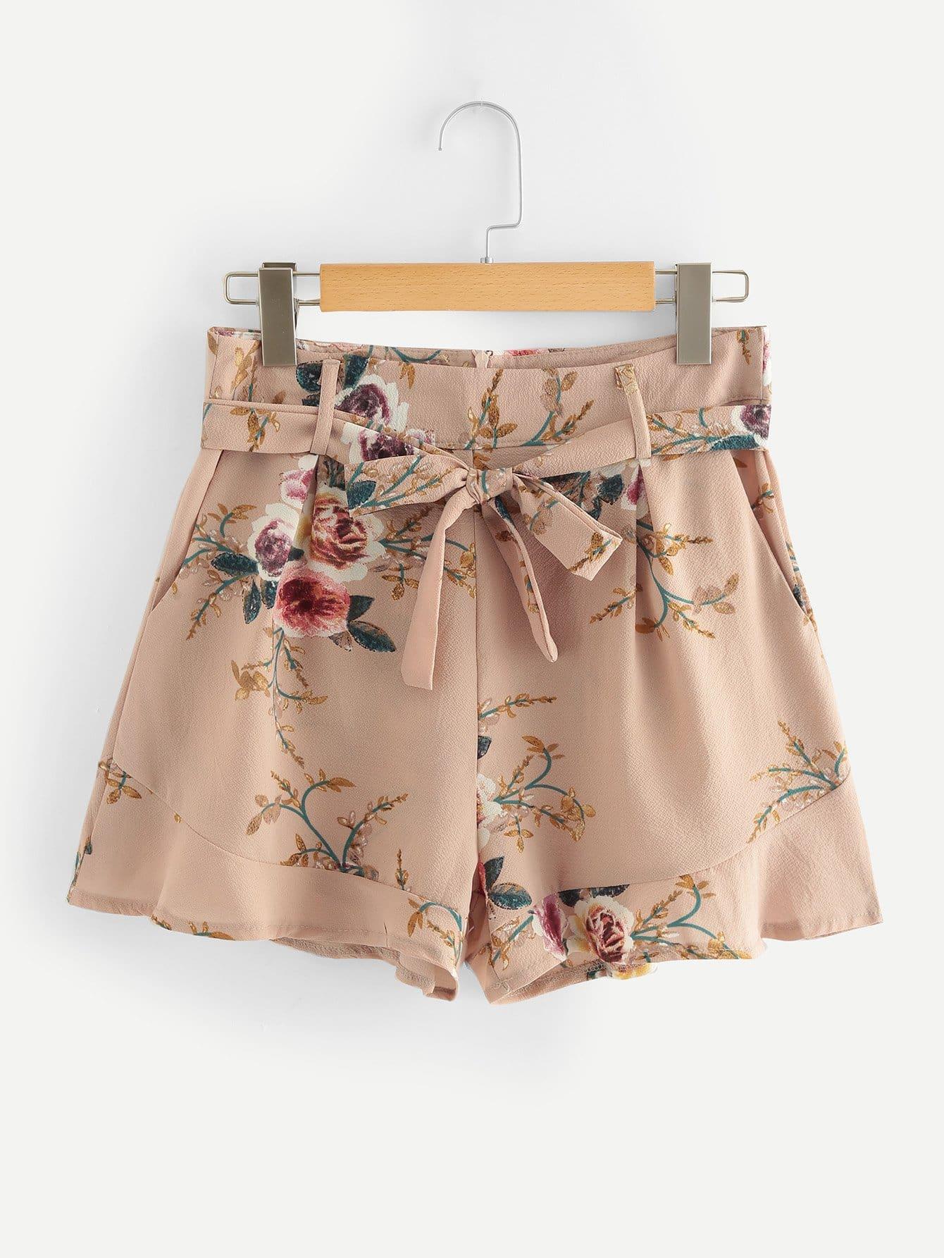 Ruffle Hem Self Tie Waist Shorts