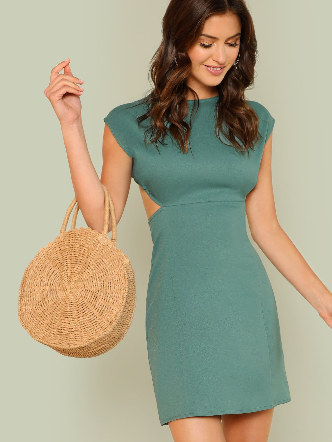 Cut Out Backless Solid Dress cut out front split backless dress
