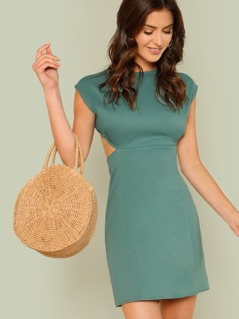 Cut Out Backless Solid Dress