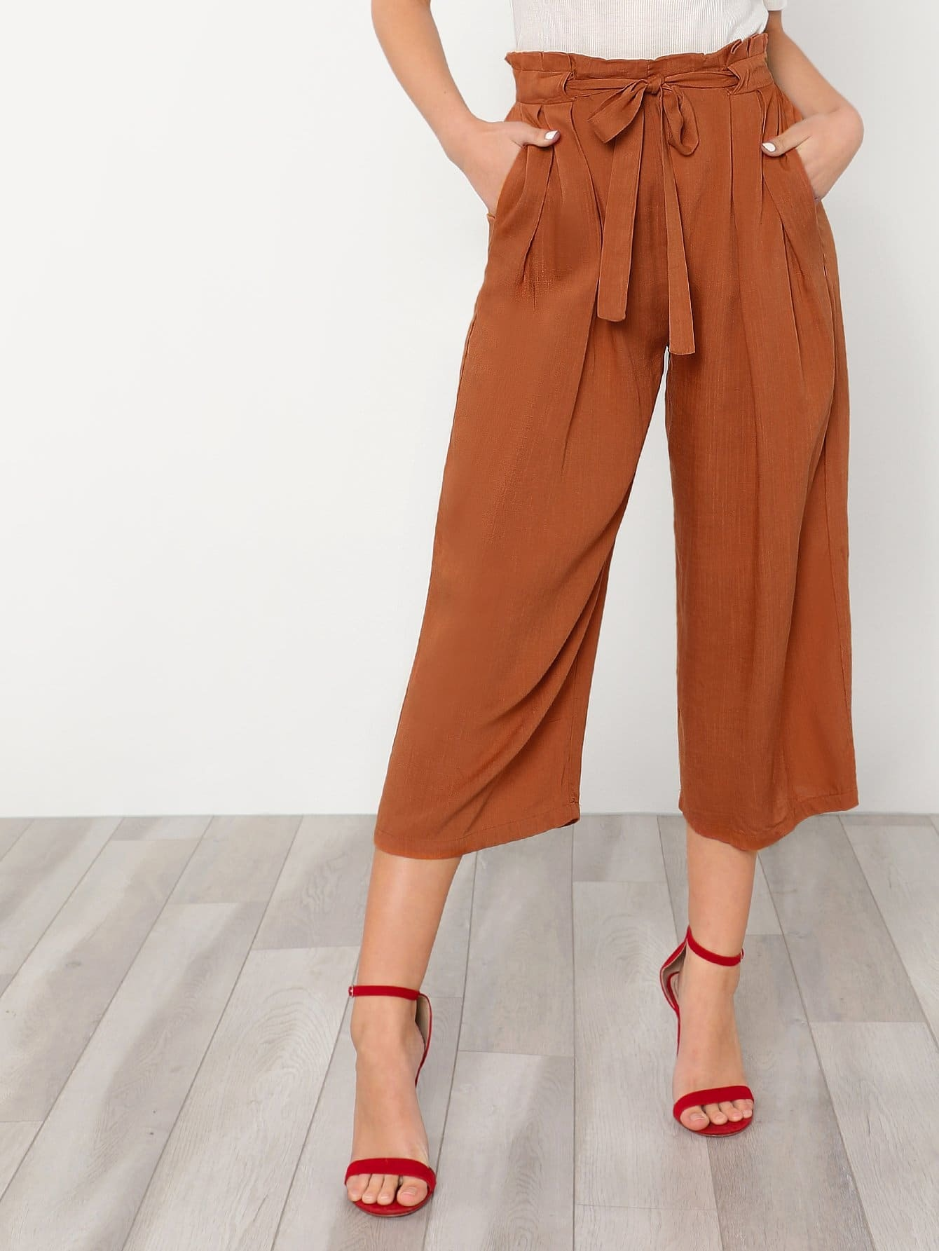 Self Tie Waist Wide Leg Pants bow tie side wide leg pants