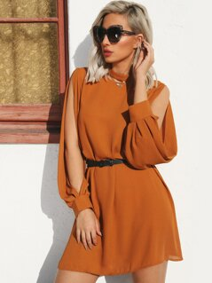 Choker Neck Split Sleeve Dress