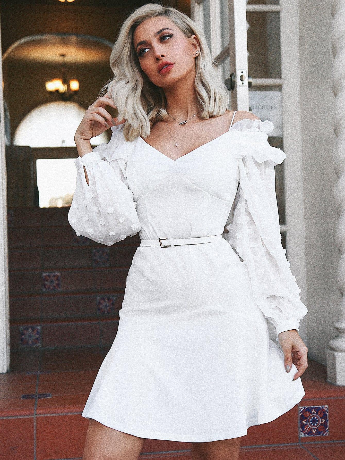 Cold Shoulder Dot Jacquard Bishop Sleeve Dress bishop sleeve tropical print dress