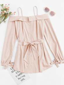 Bow Tie Cold Shoulder Cami Dress