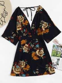 Flowers Print Tie V Neck Dress