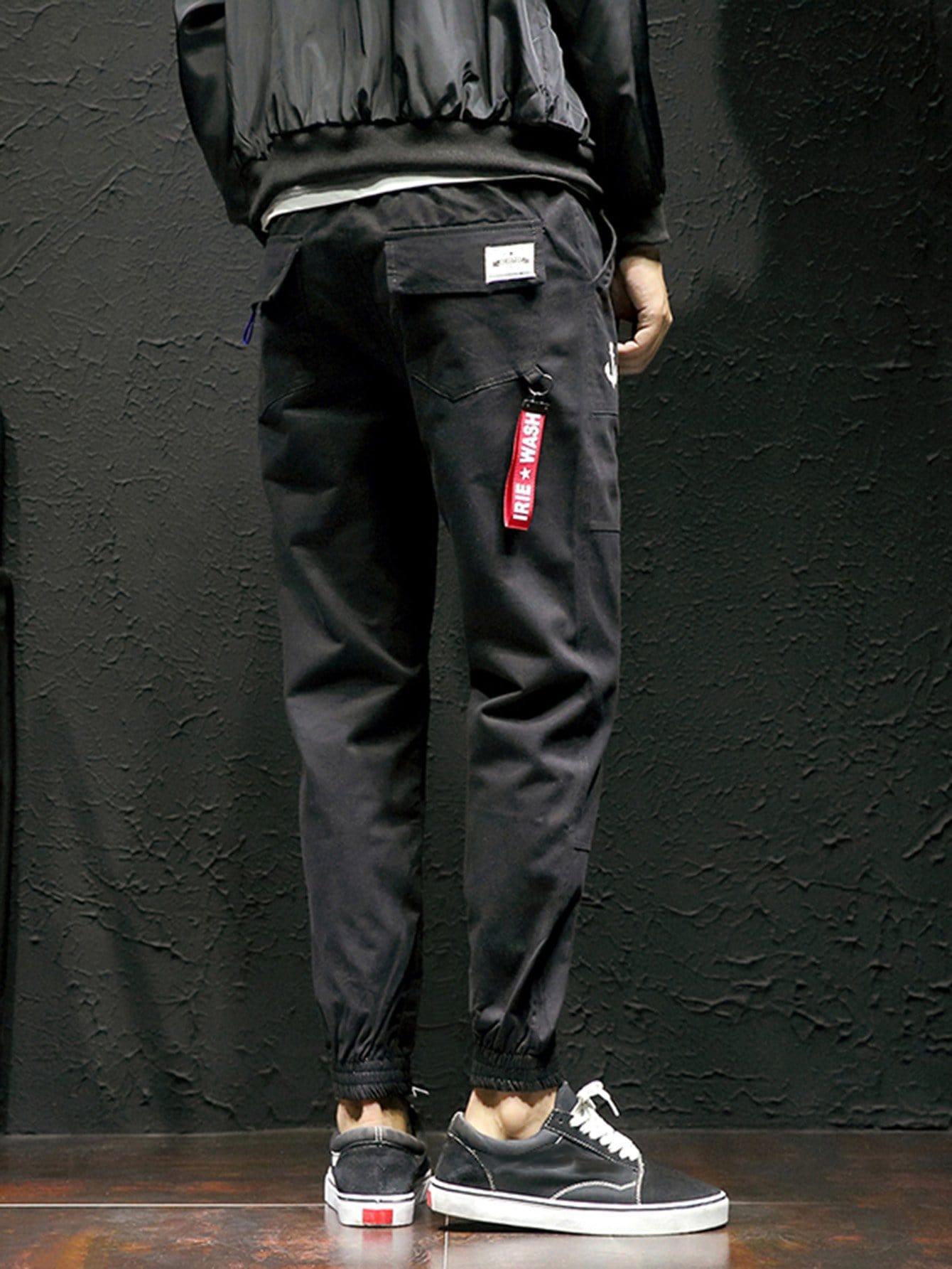 Men Label Back Elastic Foot Close Skinny Pants men contrast stitching elastic foot jeans