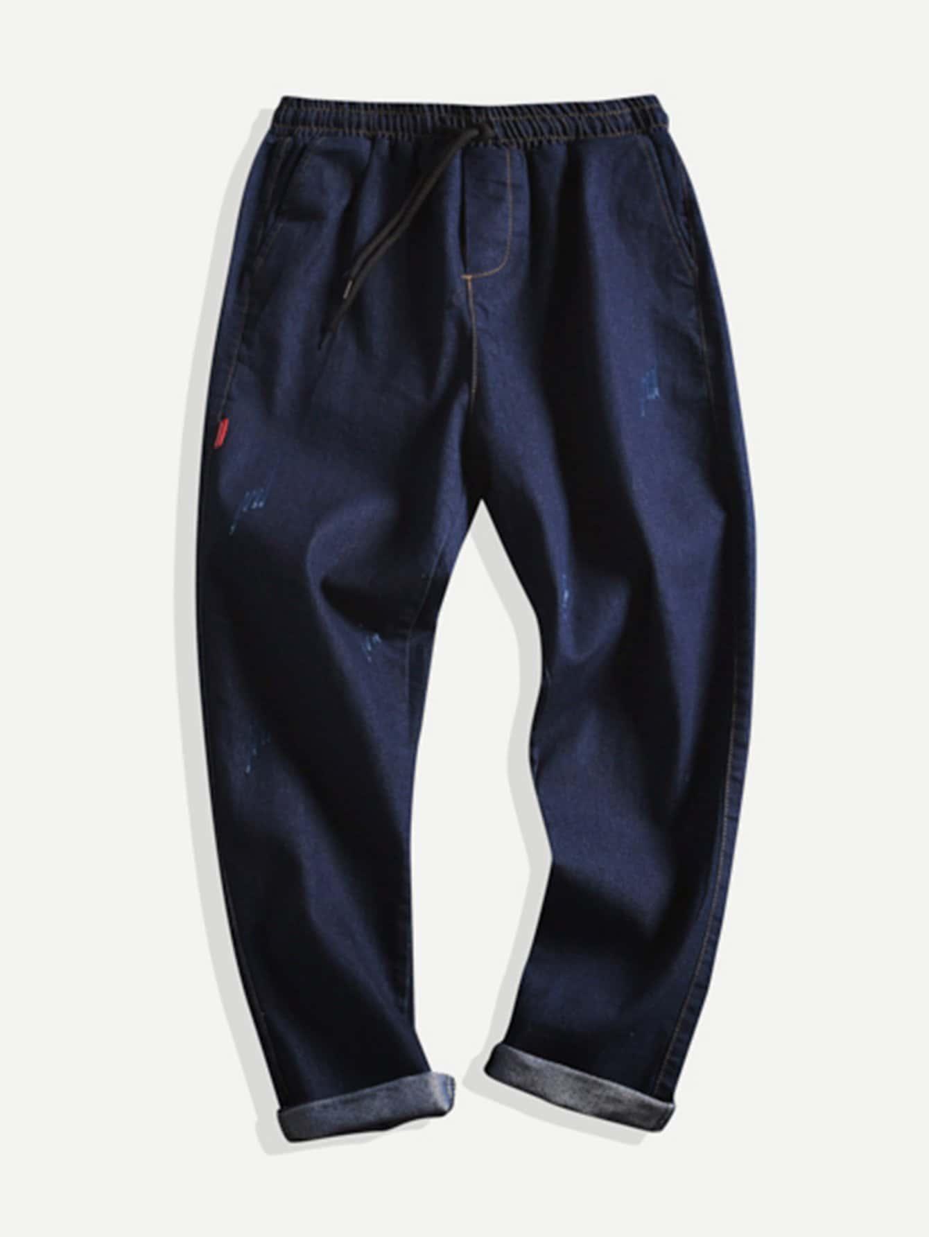 Men Rolled Hem Jeans solid rolled hem pants
