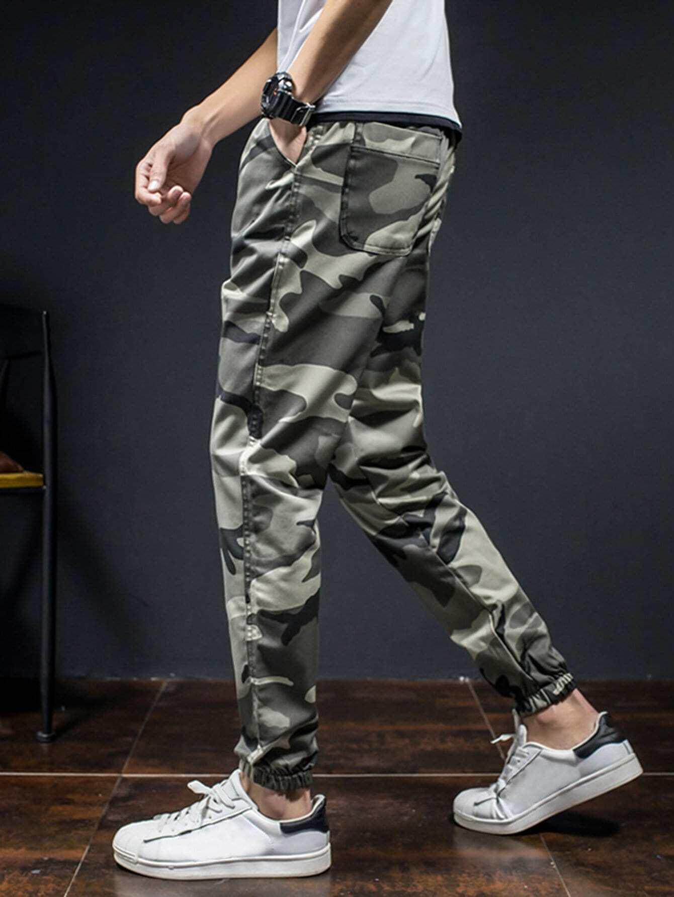 Men Camo Elastic Foot Close Skinny Pants men contrast stitching elastic foot jeans