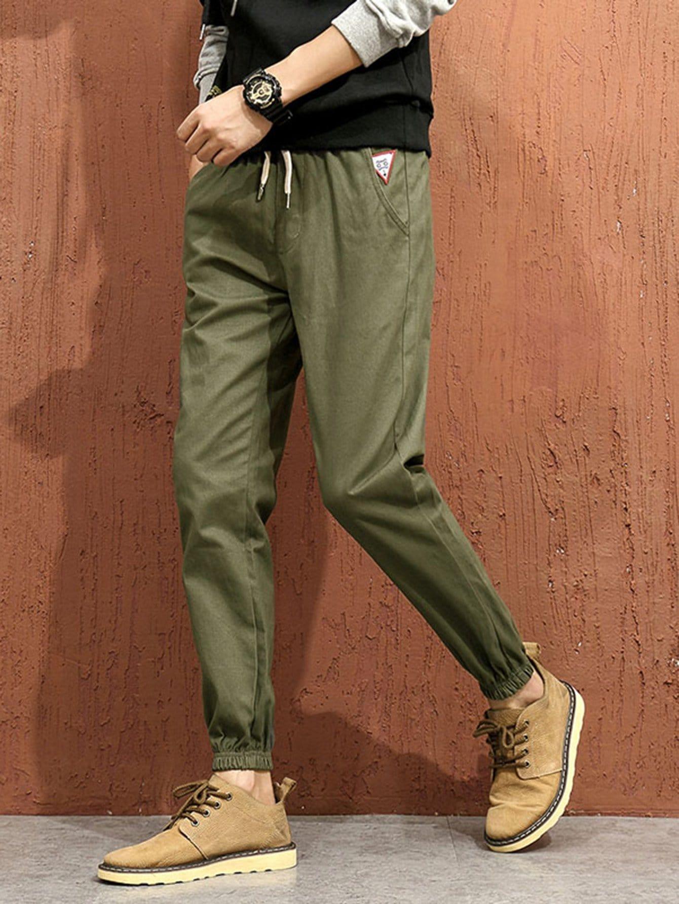 Men Drawstring Elastic Foot Close Skinny Pants men elastic foot drawstring jeans