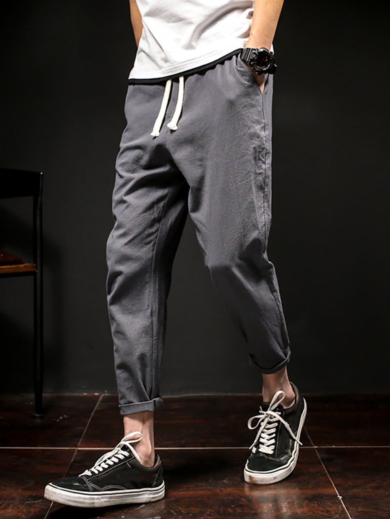 Men Drawstring Rolled Hem Harem Pants solid rolled hem pants