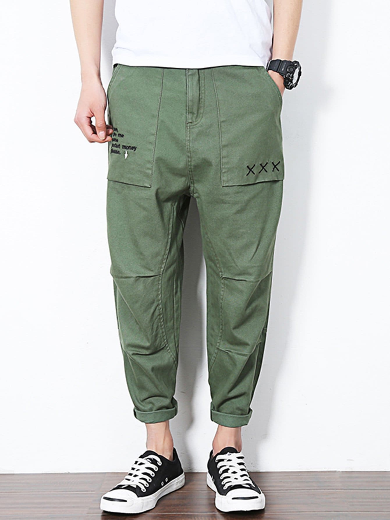 Men Letter Print Rolled Hem Harem Pants