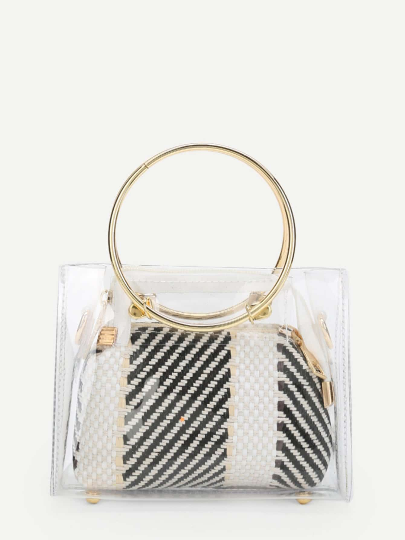 Ring Handle Clear Bag With Inner Pouch clear wood handle bag with sequin pouch