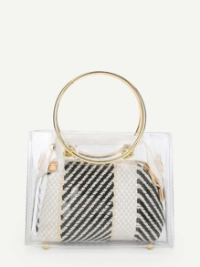 Ring Handle Clear Bag With Inner Pouch