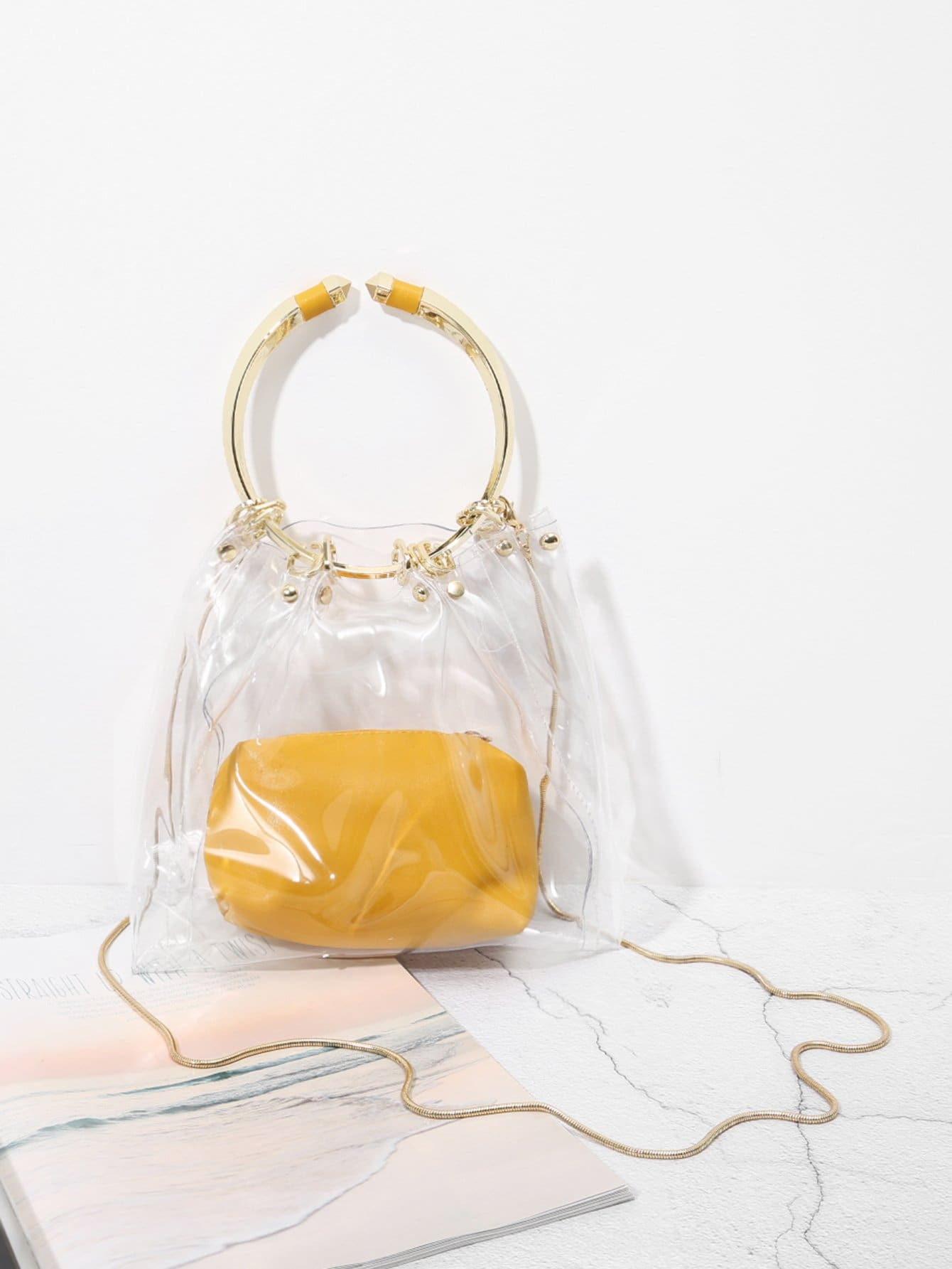 Clear PVC Tote Bag With Inner Pouch custom transparent clear pvc make up tote bag with double handles