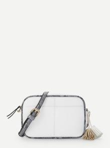 Snake Trim Tassel Crossbody Bag