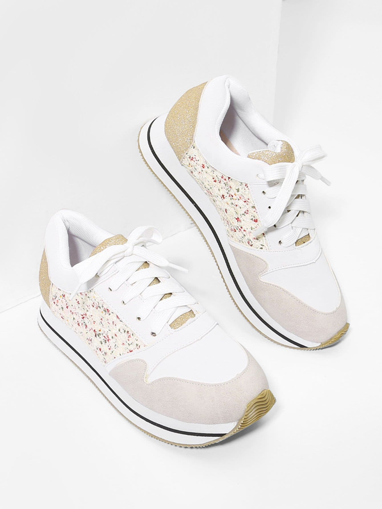 Flower Lace Panel Lace Up Trainers lace panel lace up top