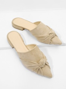 Knot Detail Suede Flat Mules