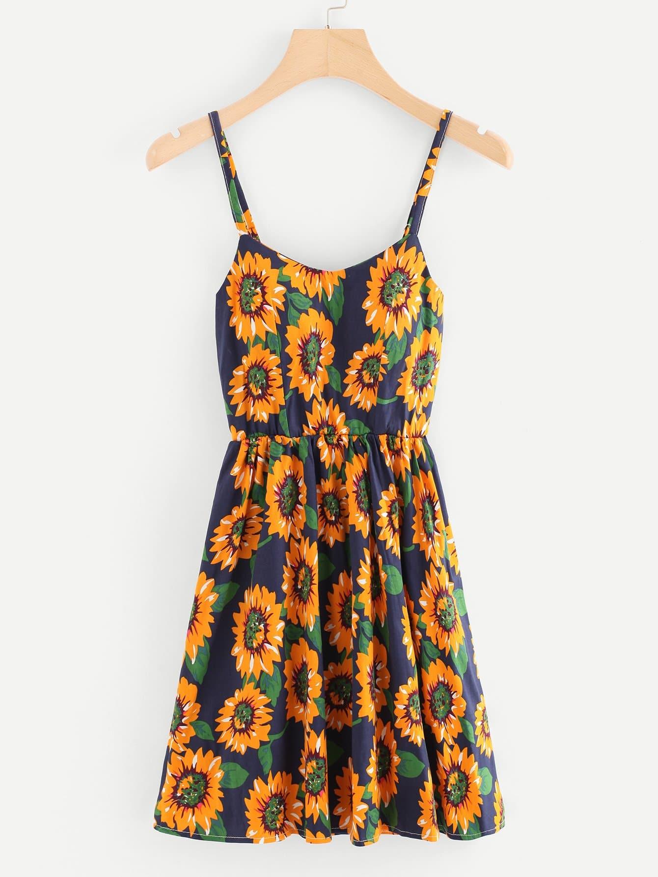 Random Sunflower Print Lace Up Back Cami Dress
