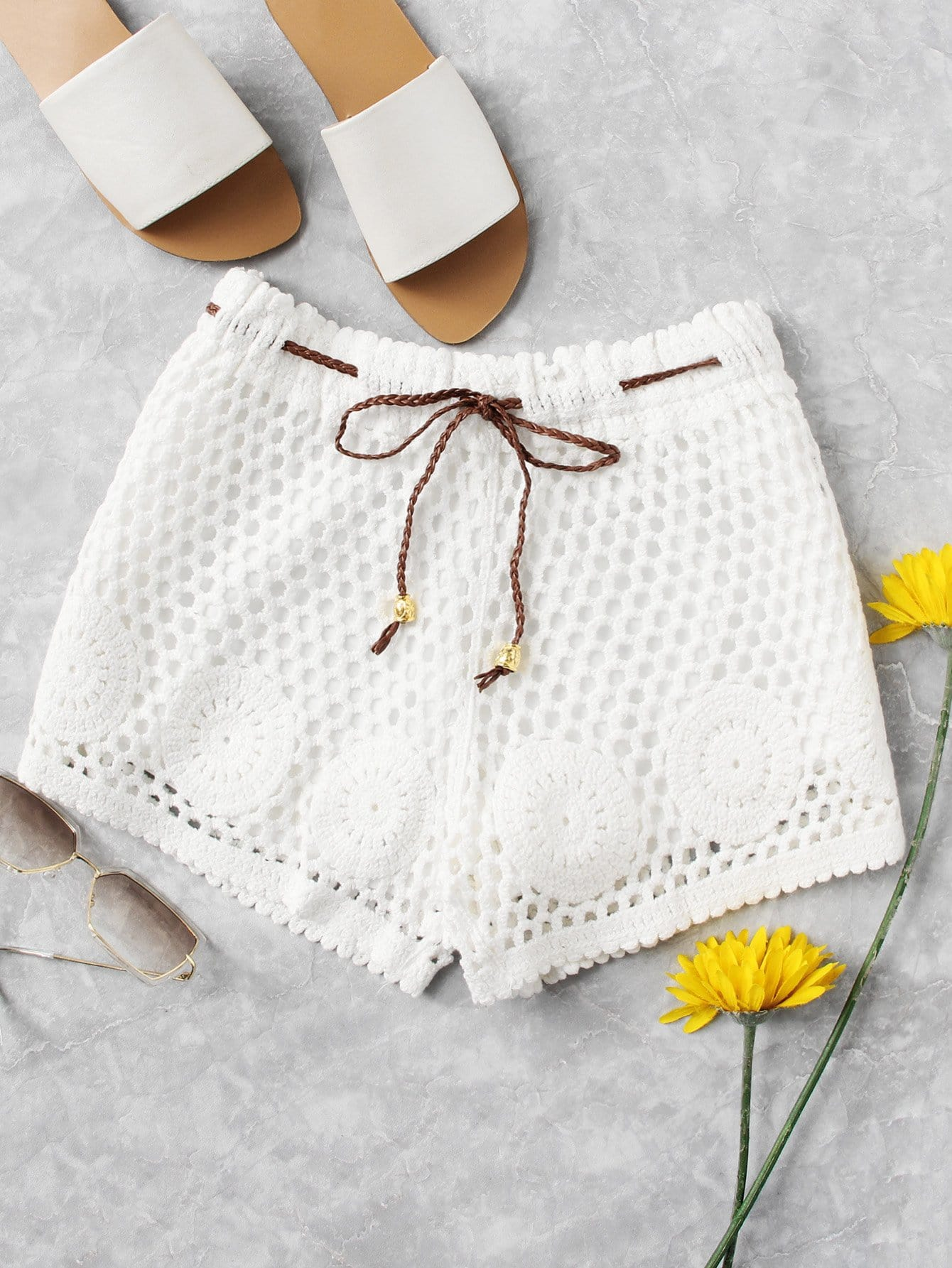 Self Tie Waist Crochet Shorts