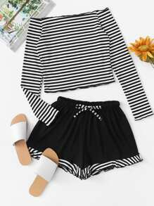 Off Shoulder Striped Ribbed Top With Shorts