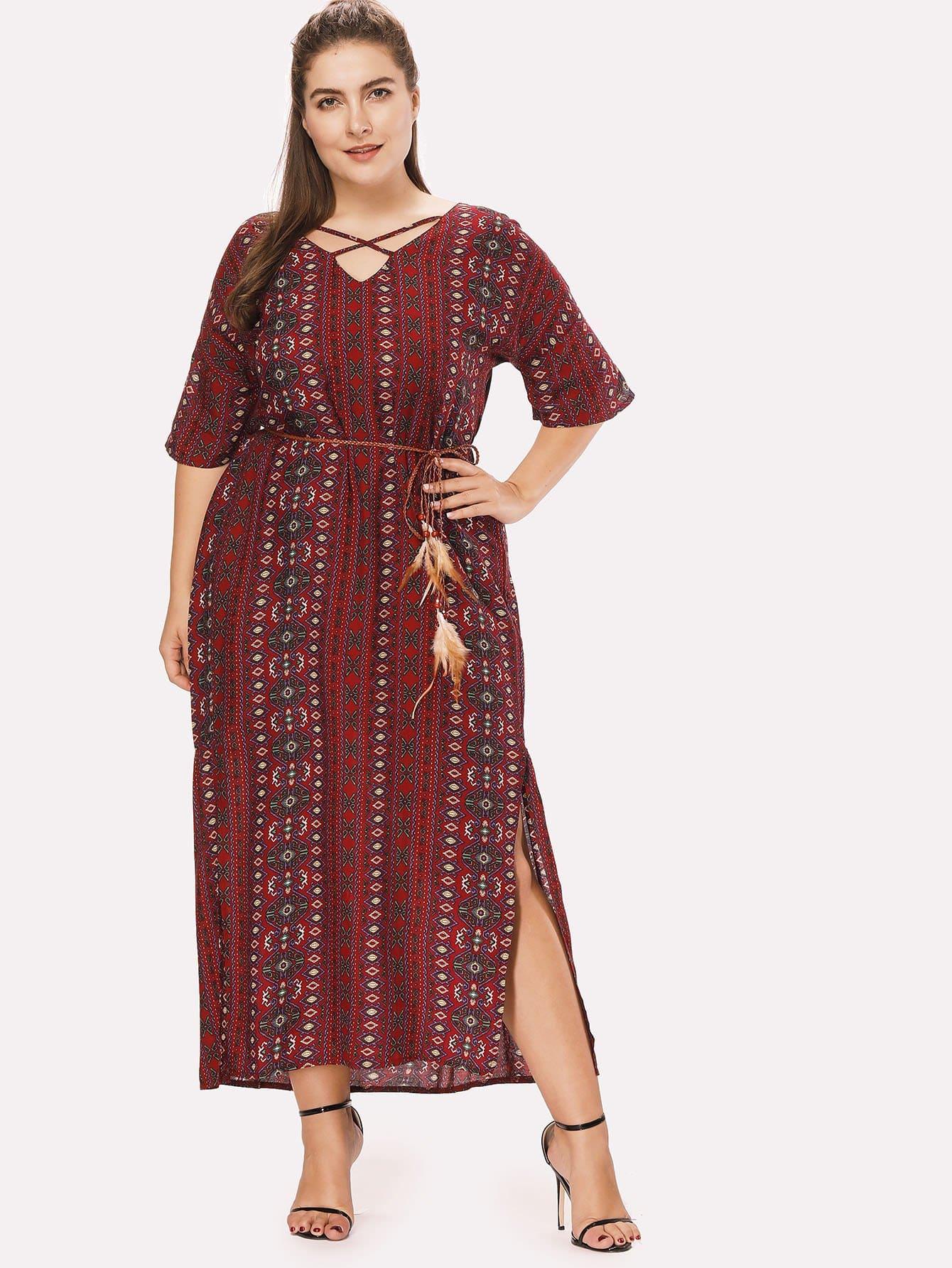 Ornate Print Knot Side Slit Dress guitar print knot side dress