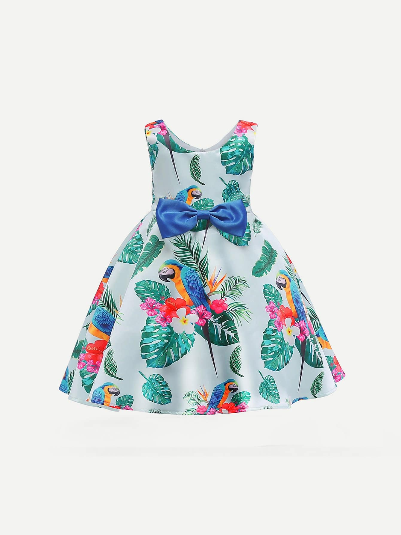 Girls Floral Print Bow Dress