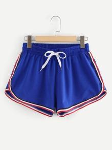 Color Block Drawstring Waist Shorts