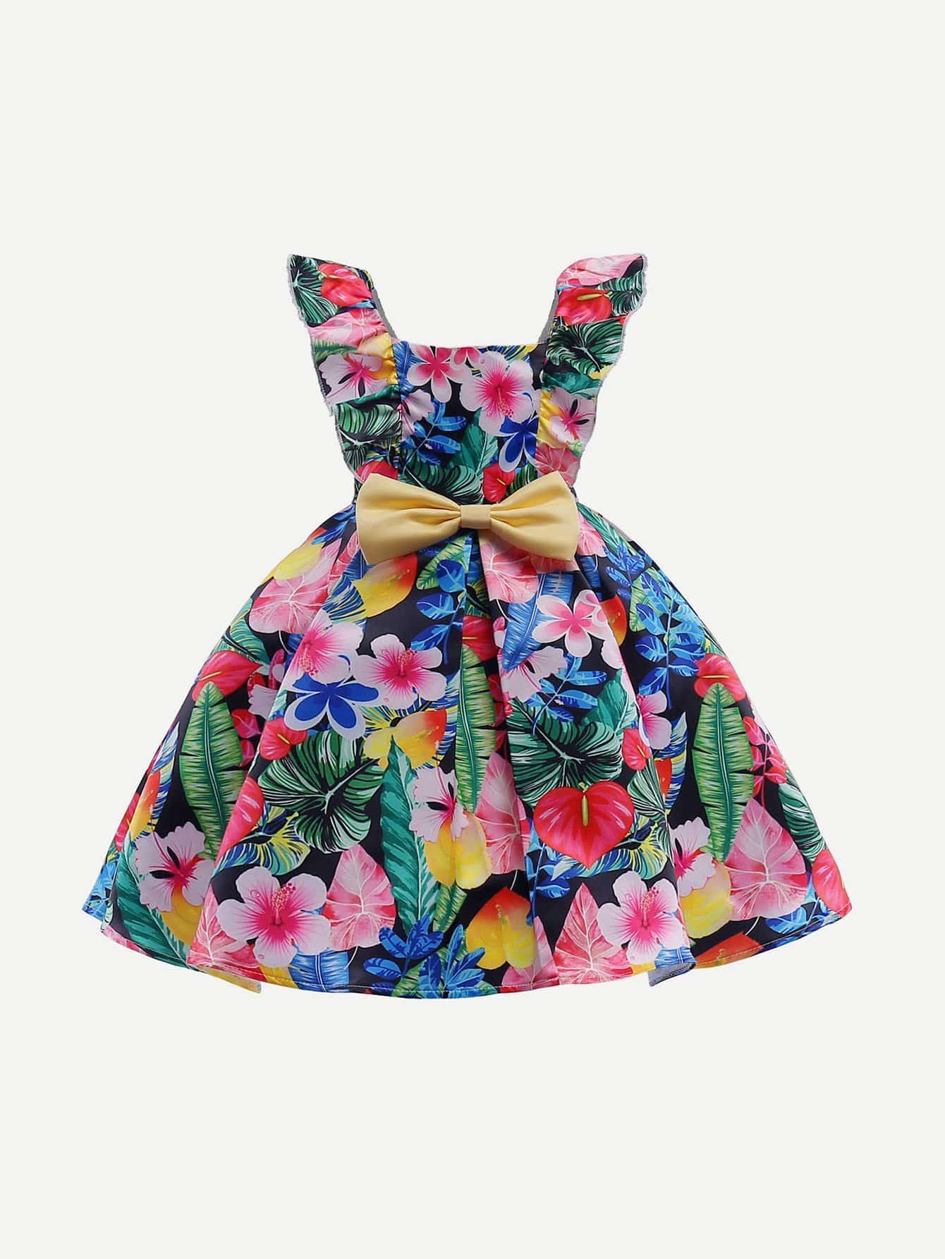 Girls Jungle Print Ruffle Trim Bow Tie Dress