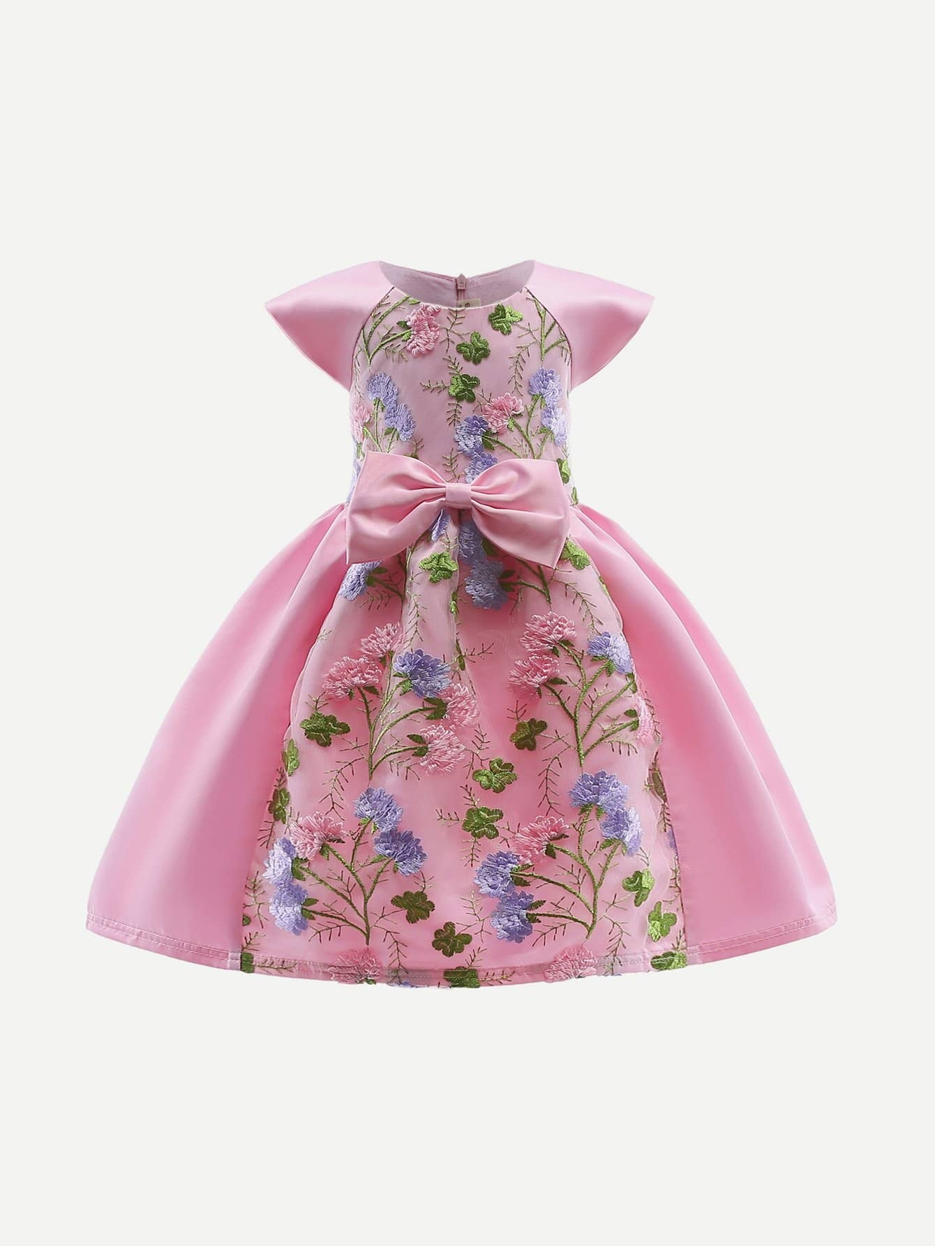 Embroidery Mesh Overlay Bow Tie Ball Gown embroidery mesh ribbon tie dress