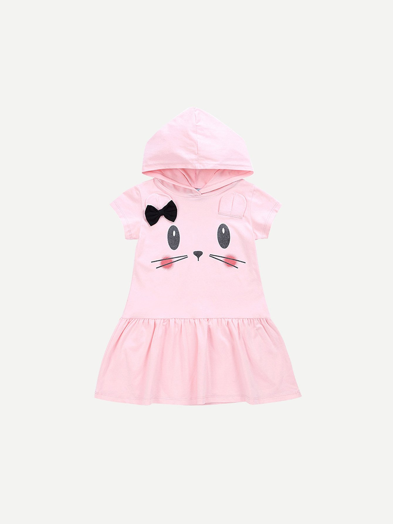 Girls Cartoon Print Pep Hem Hooded Dress