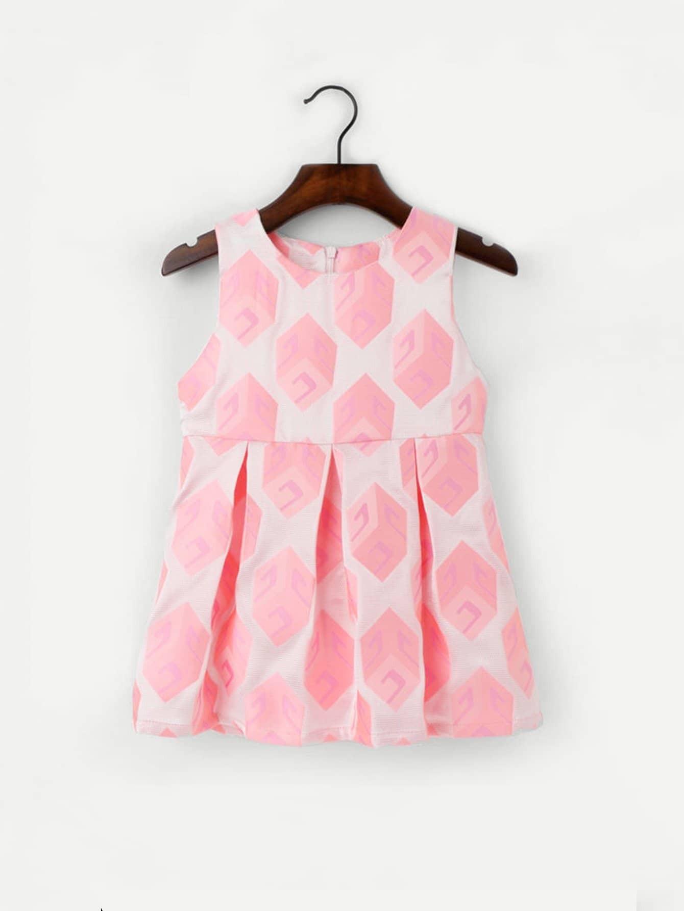 Girls Geo Pattern Box Pleated Dress