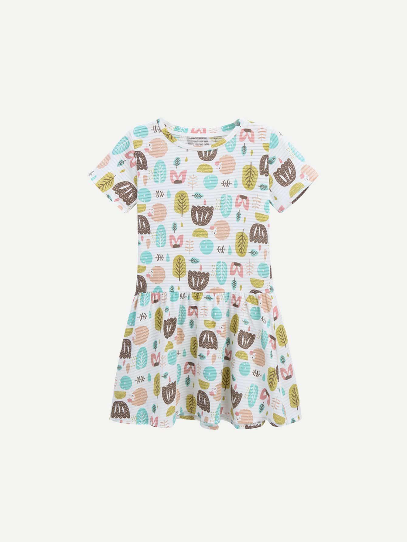 Girls All Over Cartoon Print Dress