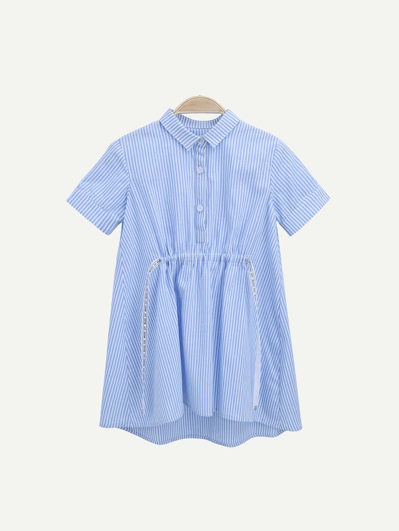 Girls Letter Tape Striped Shirt Dress