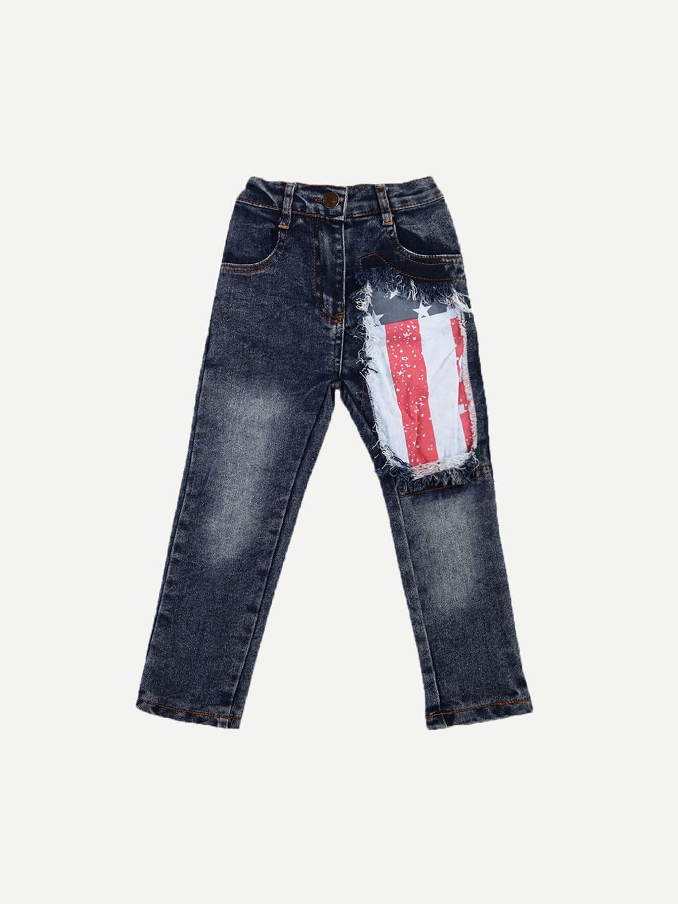 Boys Contrast Flag Frayed Detail Jeans rhinestone detail frayed edge tweed skirt