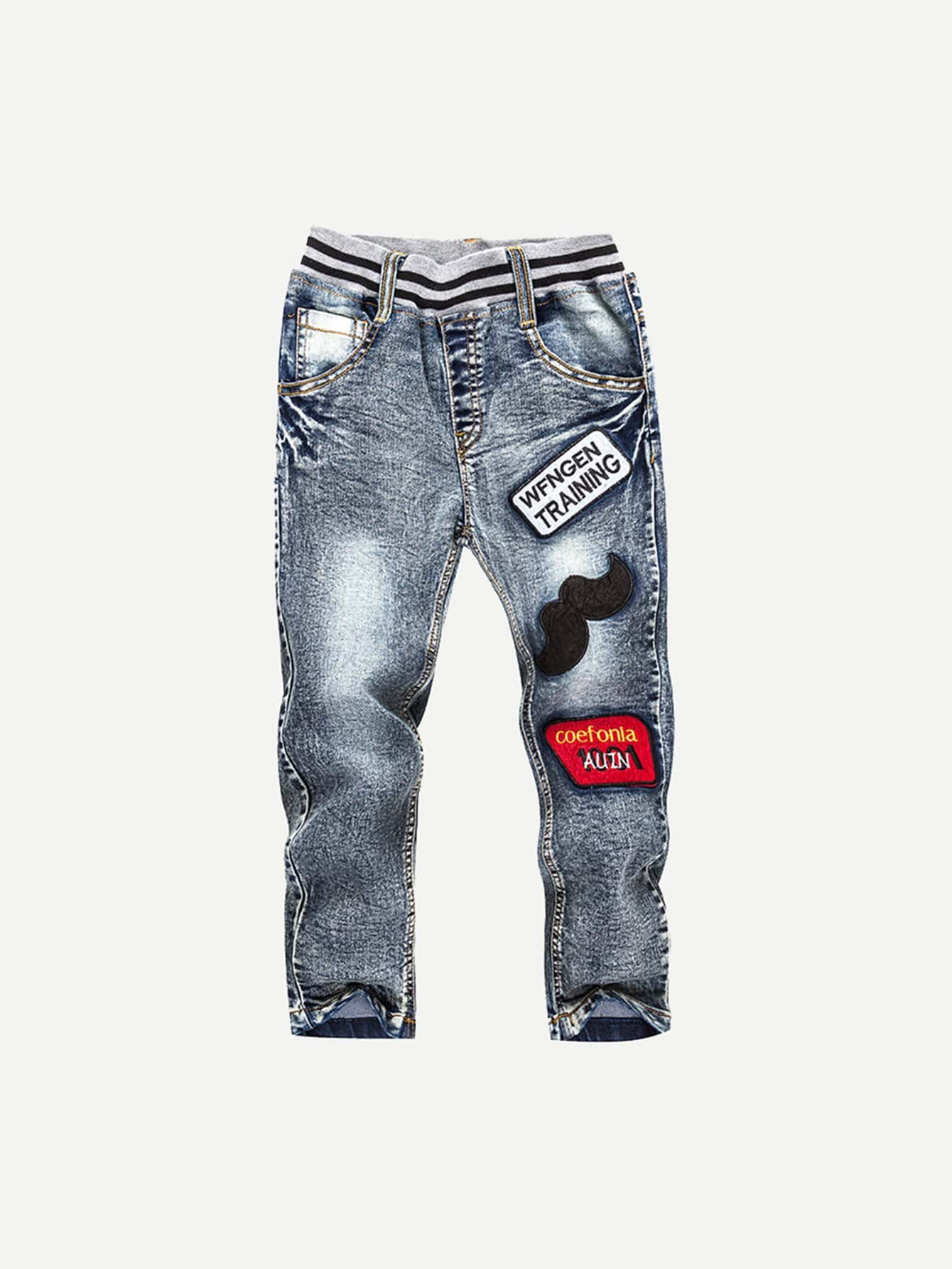 Boys Embroidered Patch Bleach Wash Jeans kids embroidered jeans