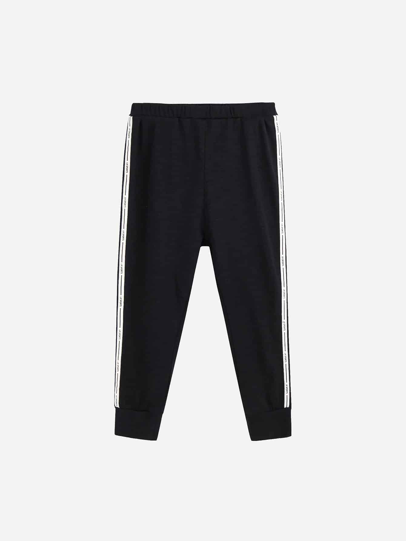 Girls Letter Tape Side Sweatpants