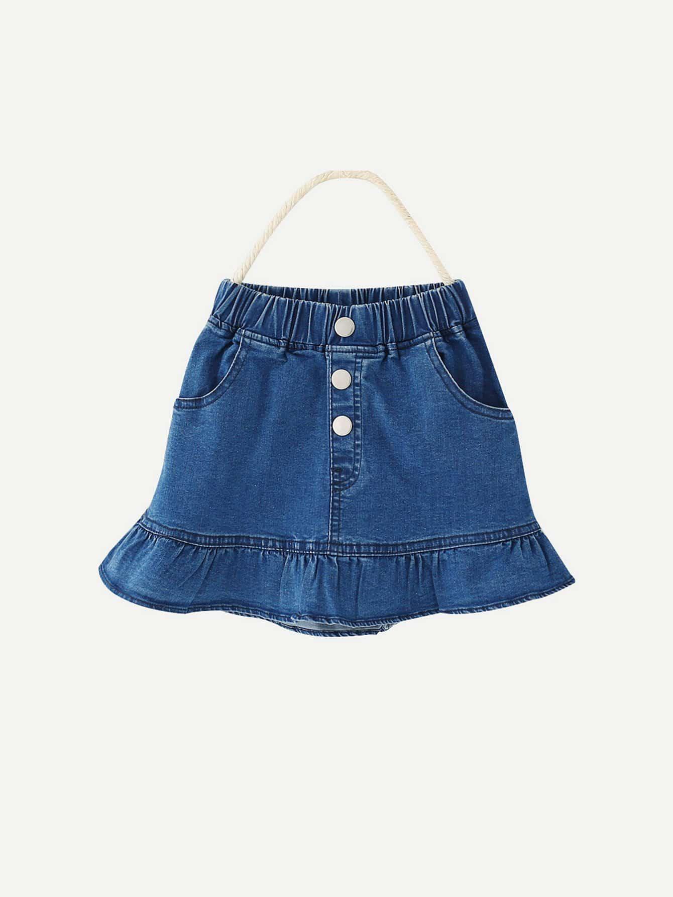 Купить Пуговица Синий Джинсовые изделия для девочек, null, SheIn