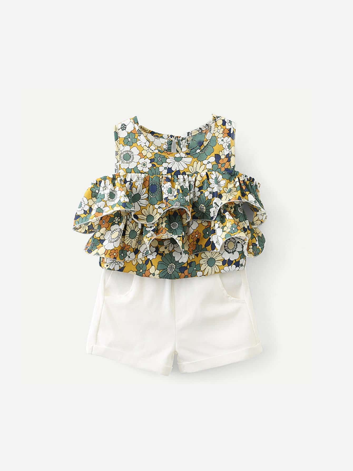 Girls Ruffle Layered Florals Blouse With Shorts