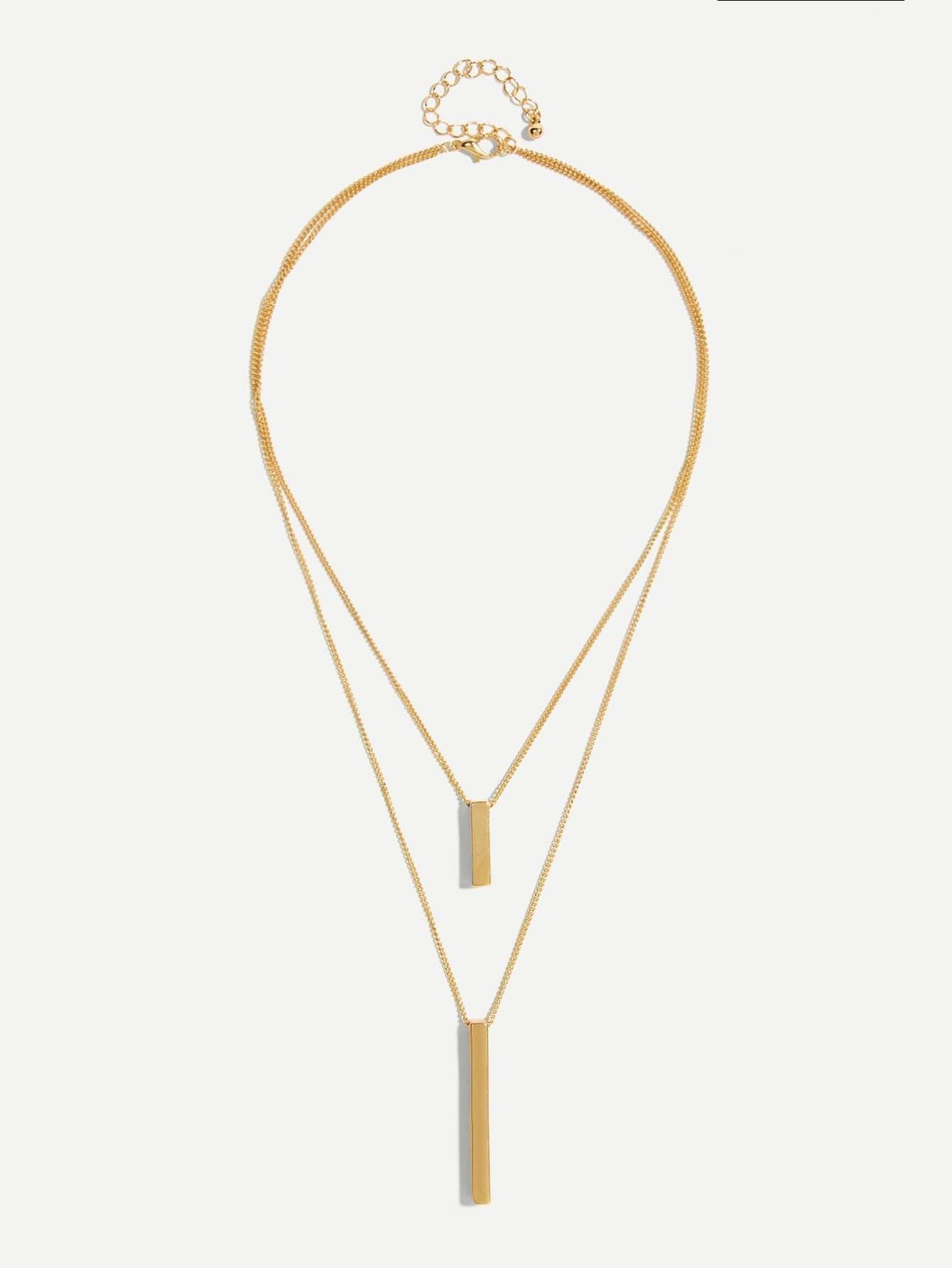 Bar Anhänger geschichteten Halskette