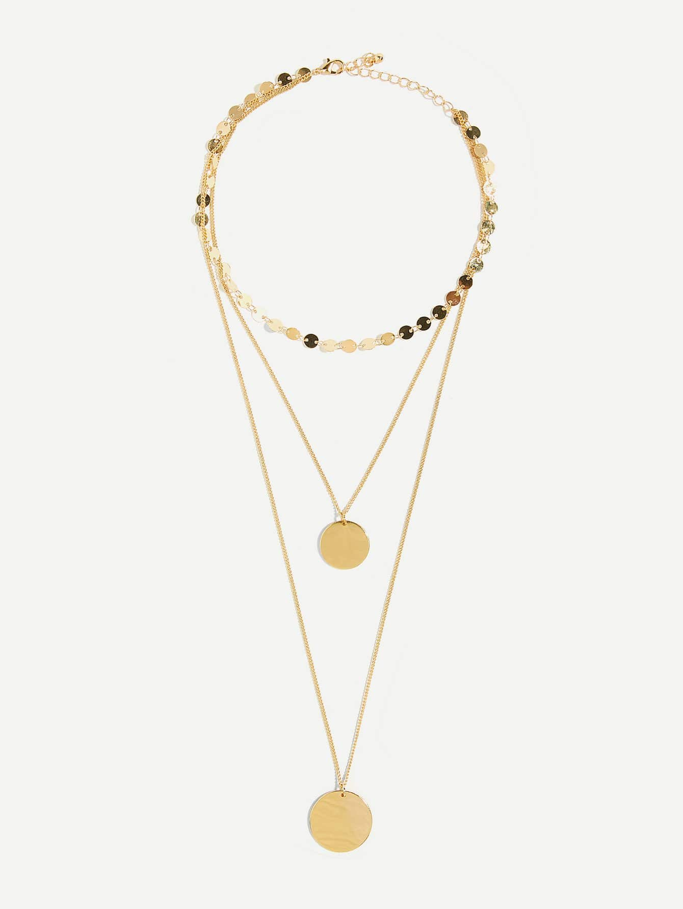 Flat Disc Bar Layered Pendant Necklace