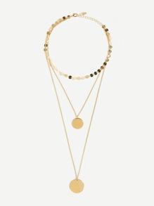 Flat Disc Bar Layered Pendant Necklace