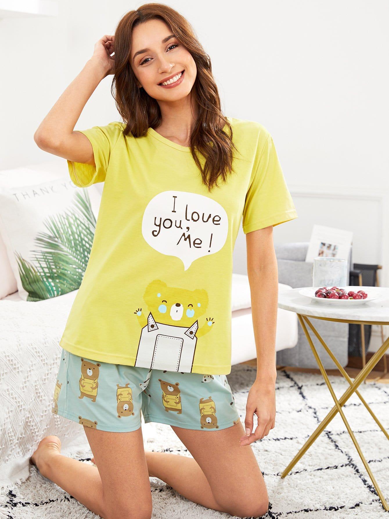 Bear Print Tee & Shorts PJ Set