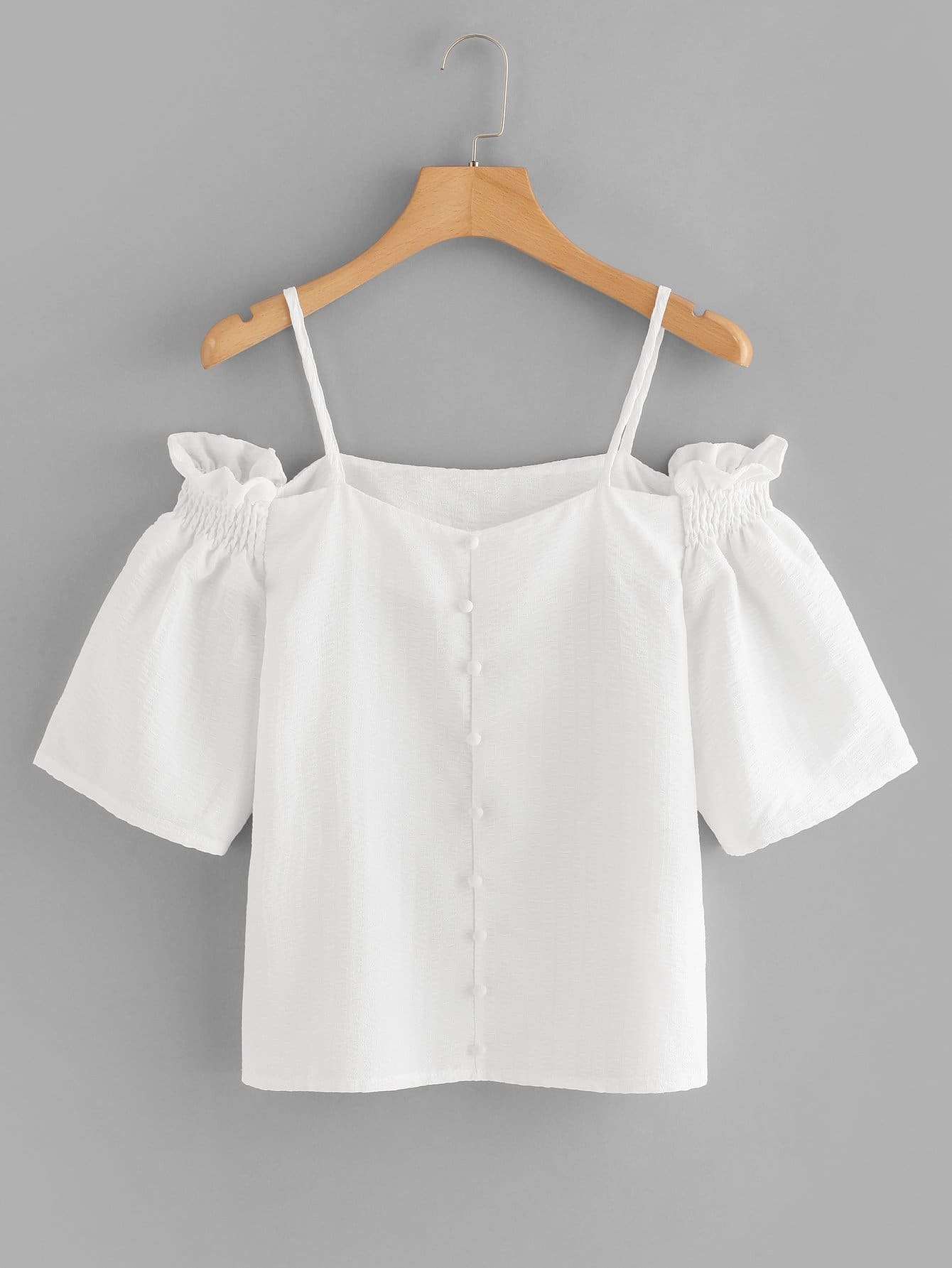 Off The Shoulder Shirred Detail Top pearl detail layered frill sleeve top